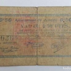 Billetes locales: F 1949 BILLETE AJUNTAMENT DE JUNEDA 50 CÉNTIMOS ABRIL T1479 RR. Lote 130638510