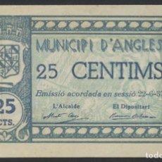 Billetes locales: J.B. BILLETE DE ANGLES , 25 CÉNTIMOS , 2ª EMISIÓN , MONTANER 169B , TURRÓ 160. Lote 130924304