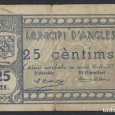 Billetes locales: J.B. BILLETE DE ANGLES , 25 CÉNTIMOS , 3ª EMISIÓN , MONTANER 169E , TURRÓ 163. Lote 130926684