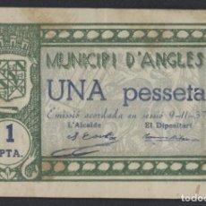 Billetes locales: J.B. BILLETE DE ANGLÈS , 1 PESETA , 3ª EMISIÓN , MONTANER 169 G , TURRÓ 161 A. Lote 131037364