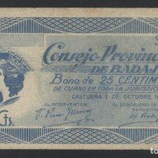 Billetes locales: J.B. BILLETE DE BAJAJOZ , 25 CENTIMOS , MONTANER 214A. Lote 131040608