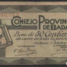 Billetes locales: J.B. BILLETE DE BAJAJOZ , 50 CENTIMOS , MONTANER 214B. Lote 131040760