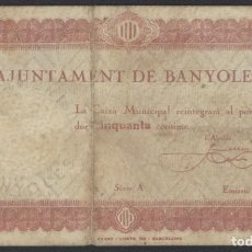 Billetes locales: J.B. BILLETE DE BANYOLES , 50 CÉNTIMOS , 2ª EMISIÓN . Lote 131041904