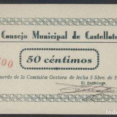 Billetes locales: J.B. BILLETE DE CASTELLOTE , 50 CÉNTIMOS , SC. Lote 131093432