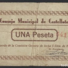 Billetes locales: J.B. BILLETE DE CASTELLOTE , 1 PESETA . Lote 131093612
