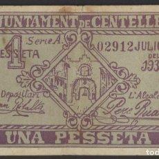 Billetes locales: J.B. BILLETE DE CENTELLES , 1 PESETA. Lote 131095520