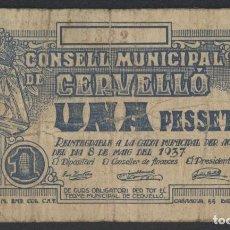Billetes locales: J.B. BILLETE DE CERVELLÓ , 1 PESETA . Lote 131096020