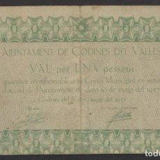 Billetes locales: J.B. BILLETE DE CODINES DEL VALLÈS , 1 PESETA. Lote 131096592