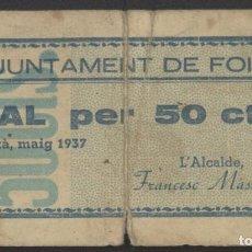 Billetes locales: J.B. BILLETE DE FOIXÀ , 50 CÉNTIMOS. Lote 131161396