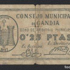 Billetes locales: J.B. BILLETE DE GANDIA , 25 CÉNTIMOS. Lote 131162828