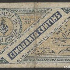 Billetes locales: J.B. BILLETE DE HORTS DEL LLOBREGAT , 50 CENTIMOS . Lote 131288427