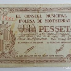 Billetes locales: F 1694 BILLETE CONSEJO MUNICIPAL 1 PESETA D' OLESSA OLESA DE MONTSERRAT T-1927. Lote 131594030