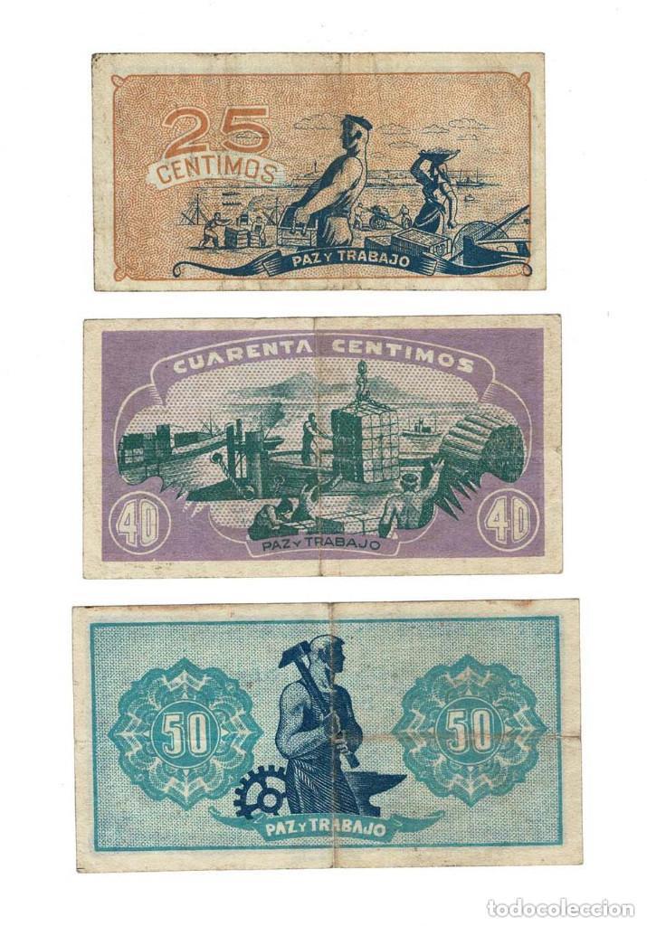 Billetes locales: Consejo de Asturias y León Tres muy raros billetes de 25, 40 y 50 Céntimos. - Foto 2 - 131688722