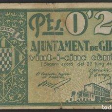 Billetes locales: J.B. BILLETE DE GIRONA , 25 CÉNTIMOS. Lote 131905094