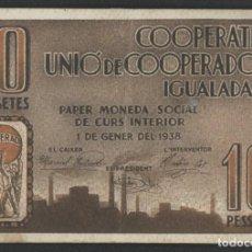 Billetes locales: J.B. BILLETE DE IGUALADA , COOPERATIVA UNIÓ DE COOPERADORS , 10 PESETAS. Lote 131907018