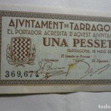 Billetes locales: BILLETE AYUNTAMIENTO TARRAGONA- UNA PESETA - 1937 EN CATALAN BB. Lote 132045302