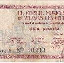 Billetes locales: ¡¡CAPICUA!! BILLETE DE 1 PESETA DEL CONSELL MUNICIPAL DE VILANOVA I LA GELTRU 31213. Lote 132489210