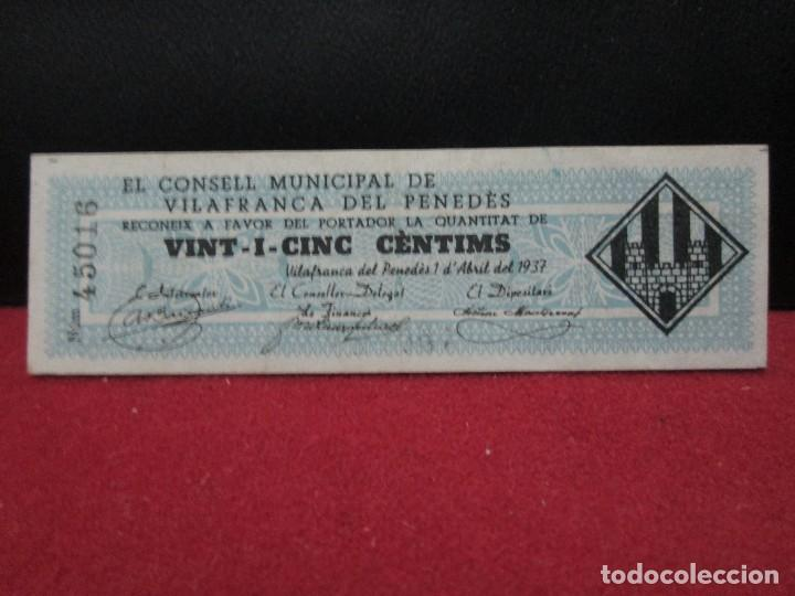 25 CENTIMS EL CONSELL MUNICIPAL DE VILAFRANCA DEL PENEDES 1937 (Numismática - Notafilia - Billetes Locales)