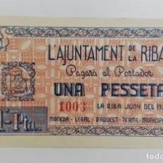 Billetes locales: BILLETE AJUNTAMENT DE LA RIBA 1 PESETA T2423 R. Lote 132766022