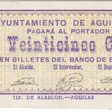 Billetes locales: BILLETE DE 25 CENTIMOS DEL AYUNTAMIENTO DE AGUILAS DEL AÑO 1937 SIN CIRCULAR. Lote 132885282