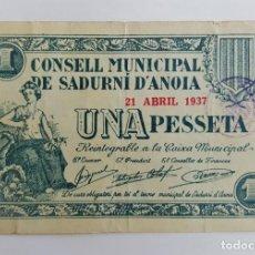 Billetes locales: F 1205 BILLETE CONSEJO MUNICIPAL SADURNI D'ANOIA 1 PESETA ABRIL (NUMEROS ROJOS) T2578 R. Lote 133420854