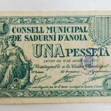 Billetes locales: F 1652 BILLETE CONSEJO MUNICIPAL SADURNÍ D'ANOIA 1 PESETA JULIO T2581 E. Lote 133421122