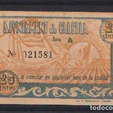 Billetes locales: CALELLA (BARCELONA ) 25 CENTIMOS DE PESETA. Lote 133596750