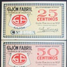 Billetes locales: ASTURIAS. GIJÓN FABRIL. SERIE COMPLETA. SC. 1937. GUERRA CIVIL. Lote 133823314