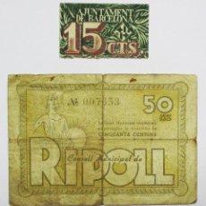 Billetes locales: BILLETES LOCALES: BARCELONA Y RIPOLL (GIRONA). LOTE 0871. Lote 134780078