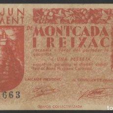 Billetes locales: J.B. BILLETE MONTCADA I REIXAC , 1 PESETA. Lote 135314658