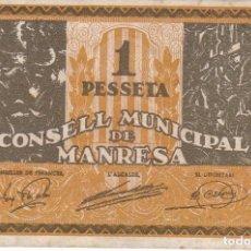 Billetes locales: BILLETE DE 1 PESETA DEL CONSELL MUNICIPAL DE MANRESA DEL AÑO 1937 SERIE B. Lote 135434810
