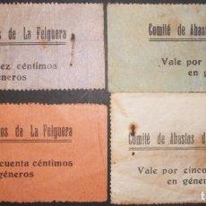 Billetes locales: ASTURIAS. COMITÉ DE ABASTOS DE LA FELGUERA. SERIE COMPLETA 4 VALORES. GUERRA CIVIL. Lote 136877126