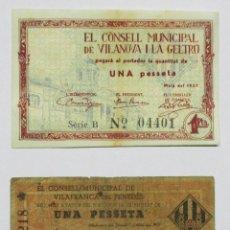 Billetes locales: BILLETES LOCALES: VILANOVA I LA GELTRU (BARCELONA) Y VILAFRANCA DEL PENEDES (BARCELONA). LOTE 0901. Lote 137336934
