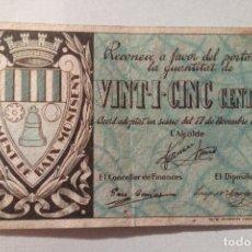 Billetes locales: VINT-I-CINC CENTIMS AJUNTAMENT BAIX MONTSENY 1937 - BILLETE LOCAL - 25 CENTIMOS. Lote 137464446