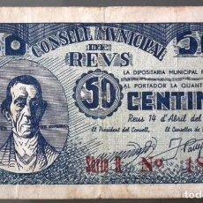 Billetes locales: BILLETE LOCAL REUS 50 CTS. Lote 137501630