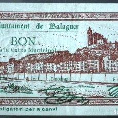 Billetes locales: BILLETE LOCAL BALAGUER 1 PTA - SELLO EN SECO. Lote 137676750