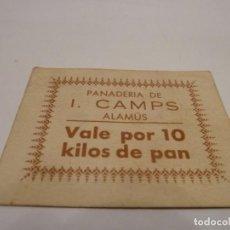 Billetes locales: 1 VALE PANADERIA I-CAMPS ALAMUS 10K PAN . Lote 137811974