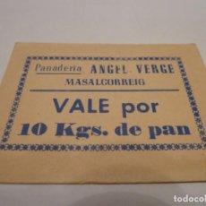 Billetes locales: 1 VALE PANADERIA ANGEL VERGE MASALCORREIG 10K PAN. Lote 137812434