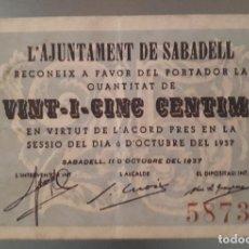 Billetes locales: BILLETE DE SABADELL - 25 CÉNTIMOS. Lote 137816218