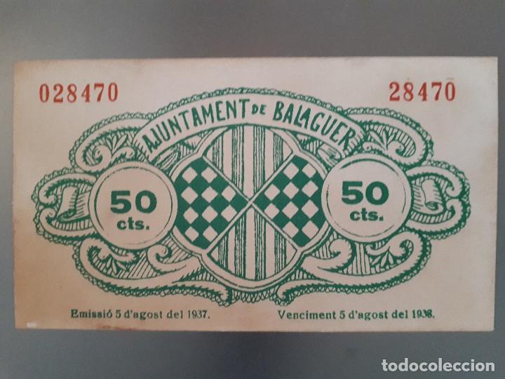 Billetes locales: Billete local de Balaguer - 50 céntimos - Foto 2 - 138678446