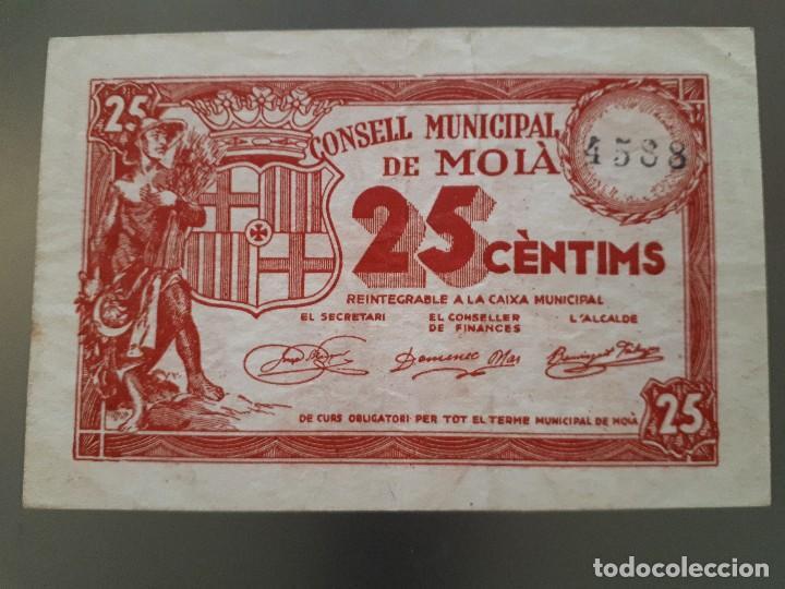 BILLETE DE MOIA - 25 CÉNTIMOS (Numismática - Notafilia - Billetes Locales)