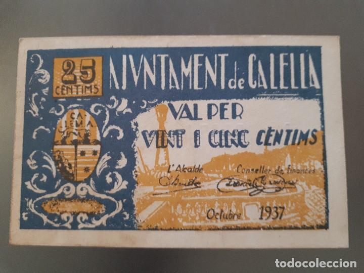 BILLETE LOCAL DE CALELLA - 25 CÉNTIMOS (Numismática - Notafilia - Billetes Locales)