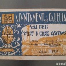 Billetes locales: BILLETE LOCAL DE CALELLA - 25 CÉNTIMOS. Lote 138679842