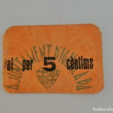 Billetes locales: F 1548 BILLETE AYUNTAMIENTO DE IGUALADA 5 CENTIMOS EBC. Lote 138902078