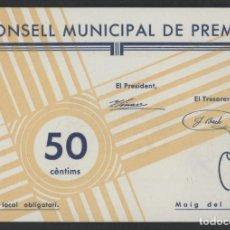 Billetes locales: J.B. BILLETE DE PREMIÀ , 50 CÉNTIMOS. Lote 139055350