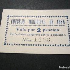 Billetes locales: 2 PESETAS DE ARÉN (HUESCA) SIN CIRCULAR. Lote 139113170