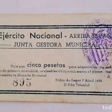 Billetes locales: F 1835 BILLETE POBLA DE SEGUR -EJERCITO NACIONAL 5 PESETAS T-2221 - R. Lote 138904398
