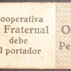 Billetes locales: CATALUÑA/CATALUNYA. COOPERATIVA LA FRATERNAL. 0,10 PESETAS.GINÉS DE VILASAR-VILASSAR DALT. BARCELONA. Lote 139631378