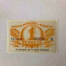 Billetes locales: CONSELL MUNICIPAL DE MANRESA 1 PESETA. Lote 140002289