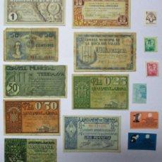 Billetes locales: CONJUNTO DE 9 BILLETES LOCALES O DE PUEBLO DE LA GUERRA CIVIL ESPAÑOLA Y 6 VALES BANCARIOS LOTE 0917. Lote 140017058